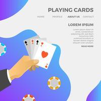 Carte da gioco minimaliste moderne che giocano con l'illustrazione di vettore del fondo di pendenza
