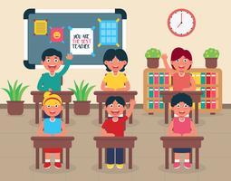 Aula con bambini illustrazione vettoriale