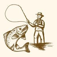 pescatore a mosca vettore