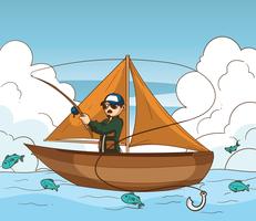 Illustrazione del pescatore a mosca vettore