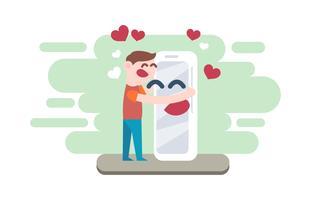 Innamorato con il vettore piano dell'illustrazione di tecnologia