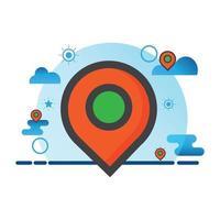 illustrazione della posizione. icona di vettore piatto. può utilizzare per, elemento di design di icone, interfaccia utente, web, app mobile.