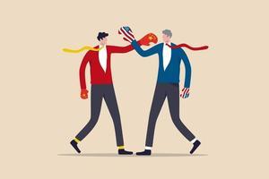 uomini d'affari che combattono indossando globo di boxe con la Cina e la bandiera degli Stati Uniti vettore