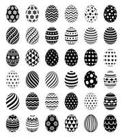 set di uova di Pasqua con icone simbolo di modelli. illustrazioni vettoriali. vettore