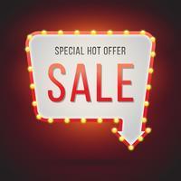 Illustrazione del segno di vendita al neon vettore