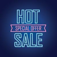 Luminoso segno di vendita al neon