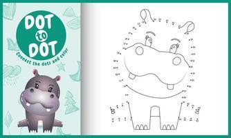 collega il gioco di puntini per bambini e la pagina da colorare con un'illustrazione di un simpatico ippopotamo vettore