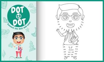collega il gioco per bambini con i puntini e la pagina da colorare con un'illustrazione del personaggio di uno studente carino vettore