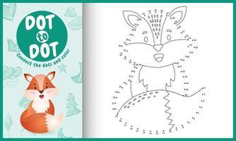 collega il gioco di puntini per bambini e la pagina da colorare con un'illustrazione di un simpatico personaggio di volpe vettore