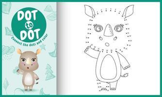 collega il gioco di puntini per bambini e la pagina da colorare con un simpatico personaggio di rinoceronte vettore