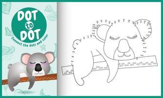 collega il gioco di puntini per bambini e la pagina da colorare con un'illustrazione di un simpatico koala vettore