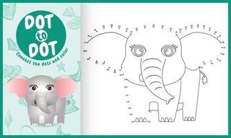 collega il gioco per bambini a puntini e la pagina da colorare con un'illustrazione di un simpatico elefante vettore