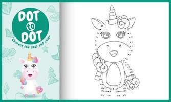 collega il gioco per bambini a puntini e la pagina da colorare con un simpatico personaggio di unicorno vettore