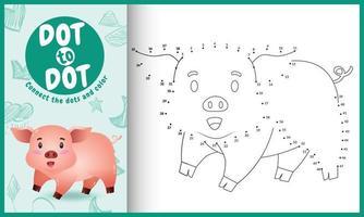 collega il gioco di puntini per bambini e la pagina da colorare con un'illustrazione di un simpatico maiale vettore
