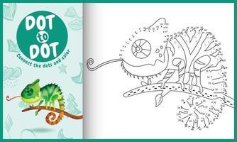 collega il gioco di puntini per bambini e la pagina da colorare con un'illustrazione di un simpatico camaleonte vettore
