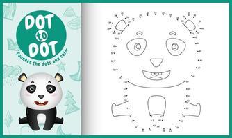collega il gioco di puntini per bambini e la pagina da colorare con un simpatico personaggio di panda vettore