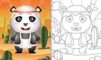 libro da colorare per bambini a tema ramadan con un simpatico panda usando il costume tradizionale arabo vettore