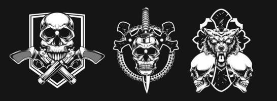 nuova combinazione di teschio di polizia, teschio di spada, teschio di animale vettore