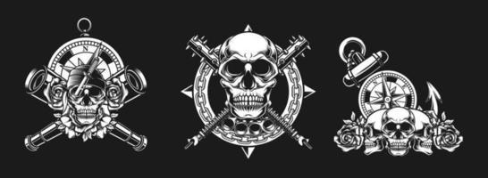 cranio autentico, bussola, concetto di binocolo vettore