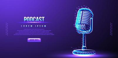 podcast, microfono. design wireframe low poly vettore