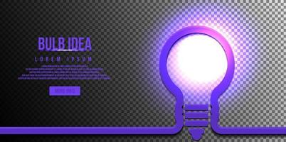 lampadina, concetto di idea, con lucentezza luminosa isolata su sfondo scuro vettore