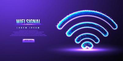 segnale wifi, illustrazione vettoriale low poly wireframe