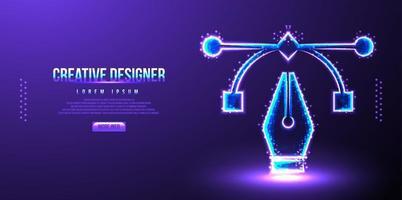 illustrazione di vettore del wireframe della penna del progettista creativo