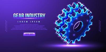 illustrazione di vettore di wireframe low poly industria ingranaggi a ingranaggi