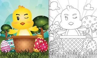 libro da colorare per bambini a tema felice giorno di pasqua con personaggio illustrazione di un simpatico pulcino nel secchio uovo vettore