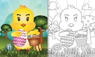 libro da colorare per bambini a tema felice giorno di pasqua con personaggio illustrazione di un simpatico pulcino che tiene il secchio uovo e uovo di Pasqua vettore
