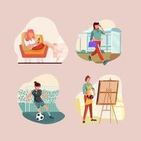 set di icone di routine quotidiana di donne indipendenti vettore