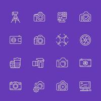 icone di fotografia a linee sottili, mirrorless, action camera, obiettivi, foto di droni vettore