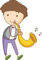 un personaggio dei cartoni animati di musicista in stile doodle disegnato a mano isolato vettore