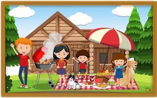 una foto di famiglia che fa picnic in una cornice vettore