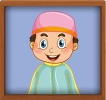 simpatica immagine del ragazzo musulmano nella cornice della foto vettore