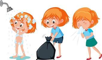 set di un personaggio dei cartoni animati di ragazza che fa diverse attività vettore