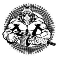 illustrazione vettoriale di scimmia selvaggia con mitragliatrice in stile retrò. gorilla arrabbiato che tiene pistole con silenziatori isolati su sfondo bianco. concetto di animali selvatici in stile cartone animato. design t-shirt