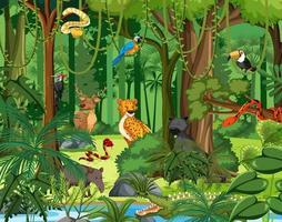 personaggio dei cartoni animati di animali selvatici nella scena della foresta vettore