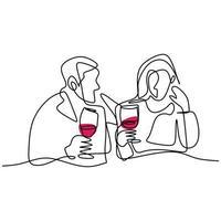 disegno continuo di una giovane coppia romantica felice cena con tavolo e vino. coppia maschio e femmina facendo appuntamento e cena insieme. il concetto di amore, appuntamenti e ristorante vettore