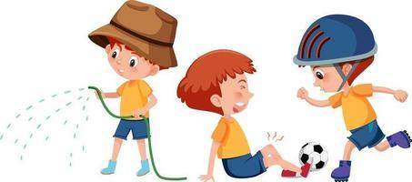set di un personaggio dei cartoni animati ragazzo che fa diverse attività vettore