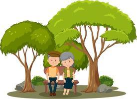 vecchia coppia seduta nel parco isolato vettore