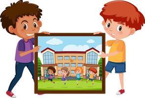 personaggio dei cartoni animati di ragazzi che tengono una foto dei suoi amici vettore
