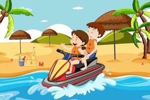 scena della spiaggia con bambini che guidano una moto d'acqua vettore