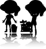 set di bambini silhouette con riflesso su sfondo bianco vettore