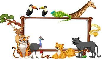 banner vuoto con animali selvatici su sfondo bianco vettore