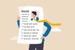 spiccano curriculum o cv, modo creativo per presentare il profilo aziendale per candidarsi per un nuovo concetto di lavoro vettore