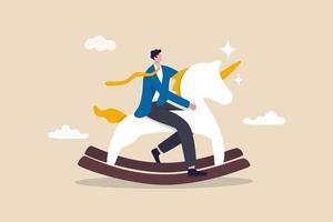 avvio di unicorno, idea creativa vincente per guadagnare soldi e realizzare profitti nel concetto di vita reale vettore