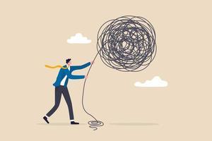 leadership per affrontare e gestire problemi aziendali, abilità e decisione per superare difficoltà o incertezze, concetto di gestione delle crisi vettore