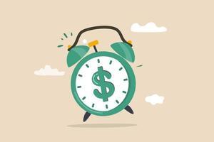 tempo per soldi, profitto dagli investimenti, avviso di promozione per affare, pagamento di bollette o scadenza per iniziare a costruire il concetto di ricchezza vettore