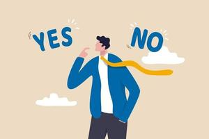 processo decisionale aziendale, scegliere sì o no alternative o scelte, leadership per dirigere il business per avere successo concetto, pensiero razionale dell'uomo d'affari e prendere decisioni per questioni d'affari o di carriera. vettore